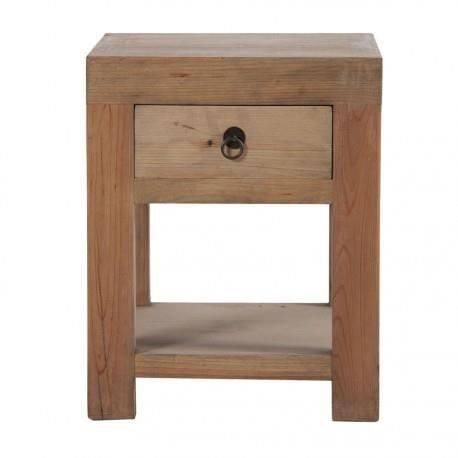 Table de chevet cubique en bois brut 1 tiroirs vical home - Table de chevet bois brut ...