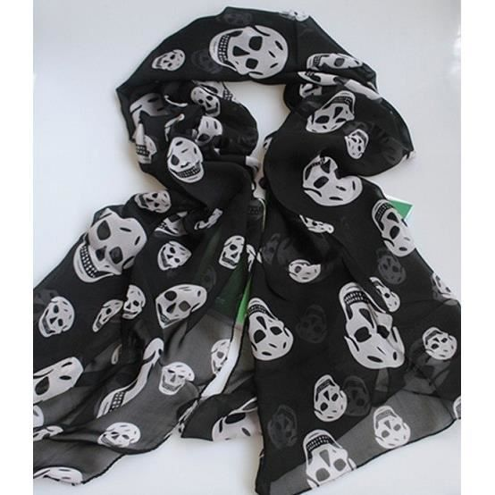 foulard tete de mort noir et blanc 170x45 cm noir achat. Black Bedroom Furniture Sets. Home Design Ideas