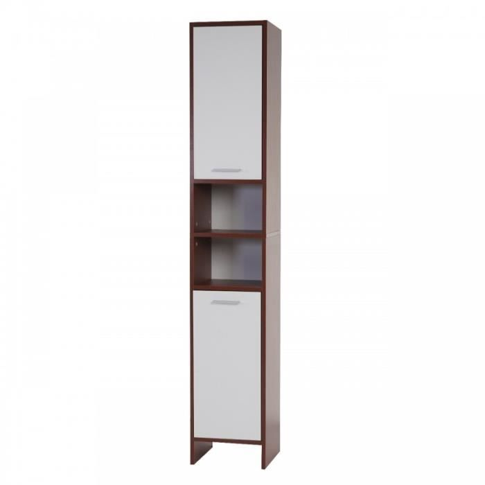 armoire meuble de salle de bain 179x32x28cm marron blanc sdb04001 achat vente meuble bas. Black Bedroom Furniture Sets. Home Design Ideas