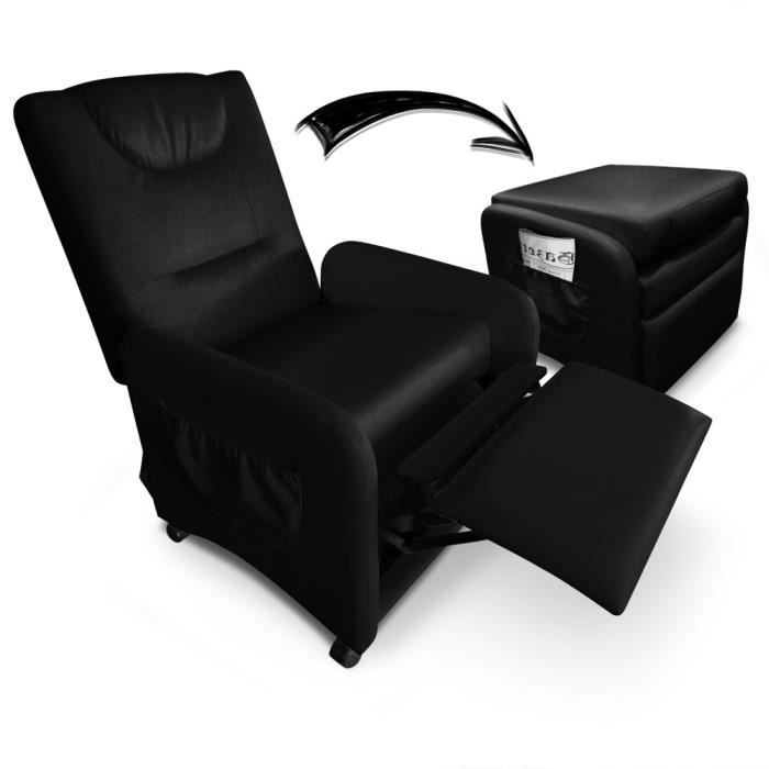 fauteuil relax pliable bristol noir achat vente. Black Bedroom Furniture Sets. Home Design Ideas