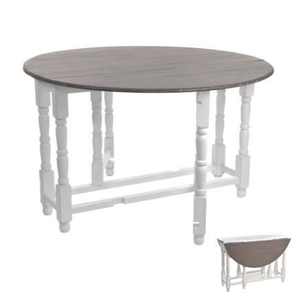 Table pliable ronde blanc et taupe achat vente table manger table pliab - Table a manger pliable ...