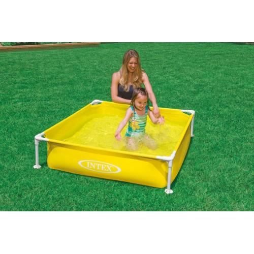 Piscinette tubulaire carree de marque intex jaune achat for Piscine gonflable carree
