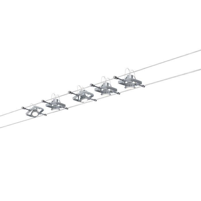 OBJETS LUMINEUX DÉCO  MAC 2 - 5 Spots sur Câbles Métal Chromé Mat L10m