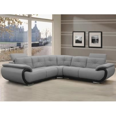 canap d 39 angle en cuir 6 places smiley bicolore achat vente canap sofa divan soldes. Black Bedroom Furniture Sets. Home Design Ideas