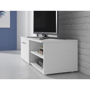 meuble tv 120 cm blanc achat vente pas cher. Black Bedroom Furniture Sets. Home Design Ideas