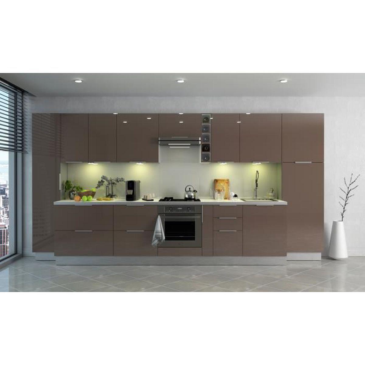 Meuble de cuisine haut 11 portes - 11cm - Taupe - Élément séparé