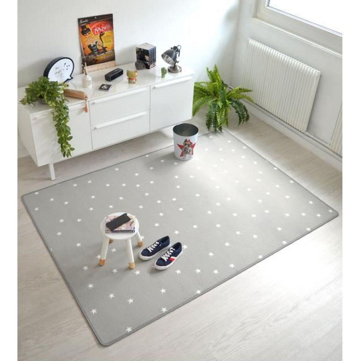 Tapis Chambre Bébé Mixte tapis chambre d'enfants - etoiles gris - 145 x 200 cm