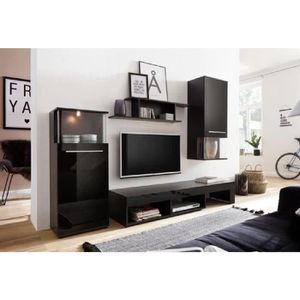MEUBLE TV PUNCH Meuble TV mural avec LED contemporain noir m