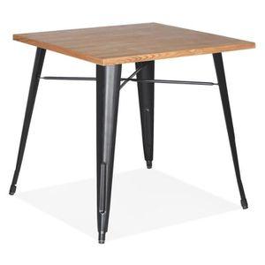 TABLE BASSE Table carrée style industriel 'MARCUS' en bois cla