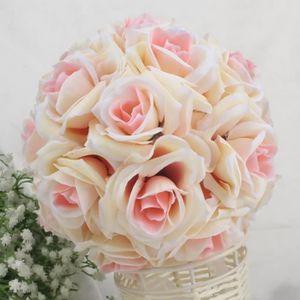 FLEUR ARTIFICIELLE CHAMPAGE 15cm Bouquet de Rose boule de mariage sim