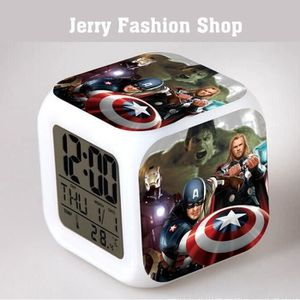 HORLOGE - PENDULE Reveil Horloge Cube led 7couleurs  Avengers  Les E