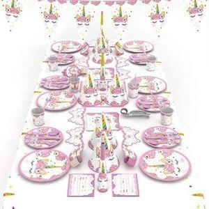 Zcoins Vaisselle jetable Anniversaire Set Assiette Licorne Gobelet et Serviettes Licorne