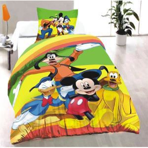 parure de lit mickey donald dingo et pluto achat vente parure de drap cdiscount. Black Bedroom Furniture Sets. Home Design Ideas