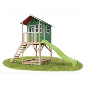 MAISONNETTE EXTÉRIEURE Cabane en bois avec toboggan Loft 700 Vert