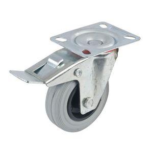 Roulette pivotante caoutchouc à platine 75 mm avec frein REF 487739