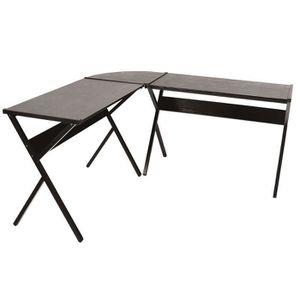 BUREAU  WOLTU Table de bureau en acier et bois, Table d'or