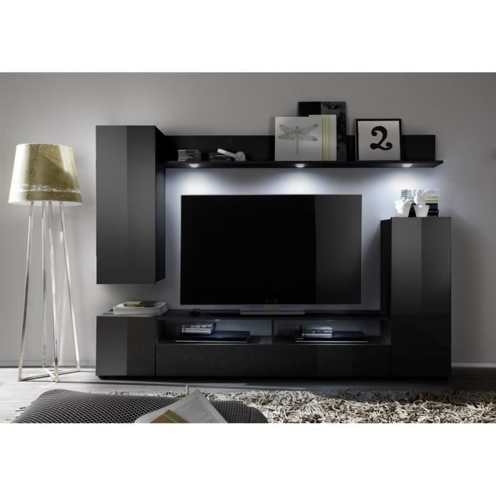 dos meuble tv mural avec clairage led 208cm noir brillant achat vente meuble tv dos. Black Bedroom Furniture Sets. Home Design Ideas