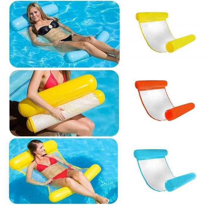 Gonflable Hamac Flottantes pour Piscine Lit Gonflable Compact Portable Tapis de Piscine Chaise Longue Gonflable de Luxe-Orange