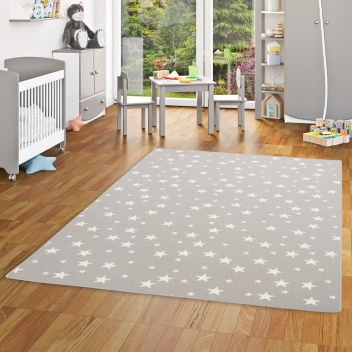 Tapis de jeu pour enfant - motif etoiles - gris [100x200 cm]