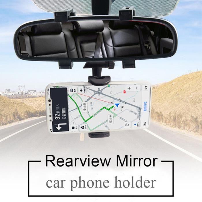 Support de voiture support pour téléphone rétroviseur support pour voiture pour téléphone, GPS 360 degrés, pour S - Black - WARR3325
