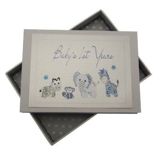 White Cotton Cards Baby's 1st Years Mini album photo pour bébé fait main Bleu