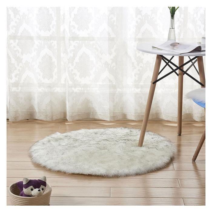 Tapis Rond en Fausse Fourrure, comme véritable Laine Tapis, Man-Made Luxe Laine Tapis de Canapé Coussin Blanc Gris 120*120cm