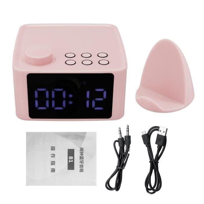 Haut-parleur Bluetooth 5.0 B1 USB Réveil Hi-Fi Lecteur de Musique Radio FM TF USB Stéréo avec support ROSE Ve89471