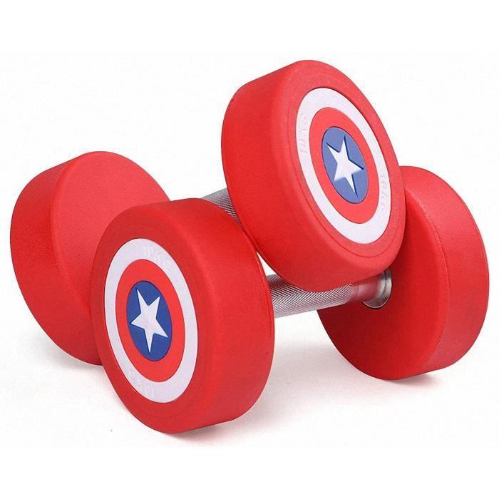 HALTERE AFDLT 2PCS Halt&egravere America Captain Rubber Dumbbel Poids d'halt&egraveres &Eacutequipement d'exercice Dumbell Se180