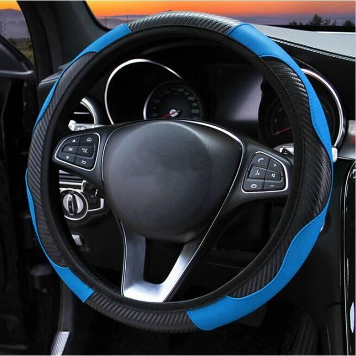 Couvre volant,Couverture de volant de voiture en cuir et Fiber de carbone, pour peugeot 307 206 308 3008 306 407 205 - Type Bleu