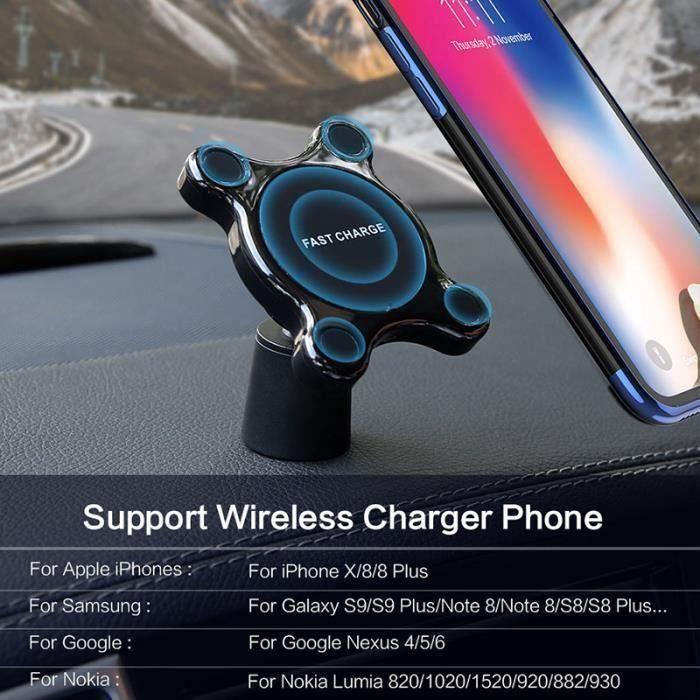 Support Téléphone Qi Sans Fil Chargeur Mobile Voiture Magnétique ventilation Support Rapide socle charge Support Auto noir LIA15155