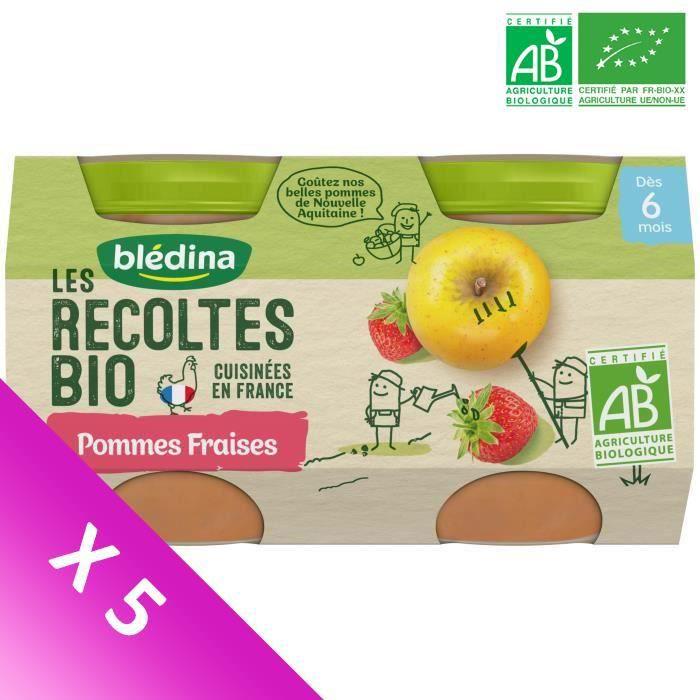 Blédina Les Récoltes Bio, Petits pots pour bébé Bio - Dès 6 mois - Pommes Fraises - Lot de 5 x 260 g