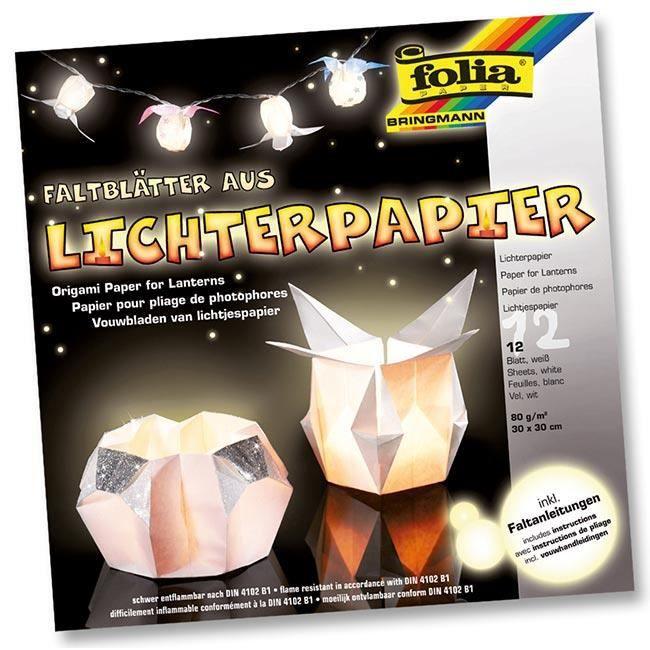 12 feuilles de papier blanc non inflammable pour pliage photophores