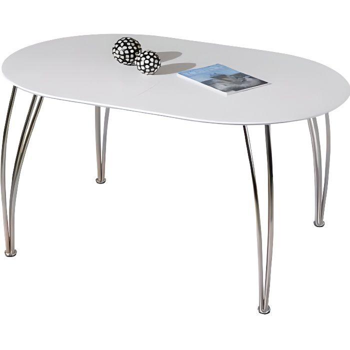 Table Ovali Ovale De Cuisine Blanche Meuble Salle À Manger Blanc Avec Rallonge Dim. 1400-1800x740x900