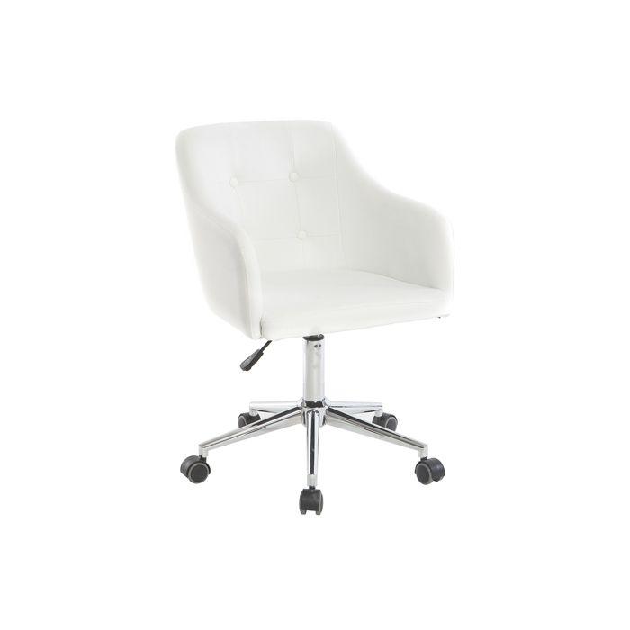 Miliboo - Fauteuil de bureau design PU blanc BALTIK