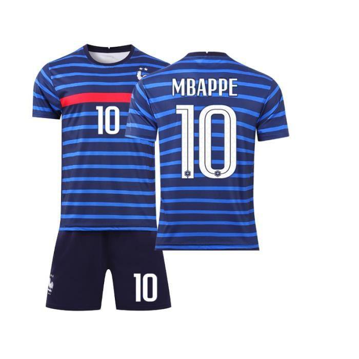 OLALI Garçon Ensemble de T-Shirt et Short Maillot de Football Enfant France 2 Étoiles Jersey Equipe de France de Football T-Shirt En