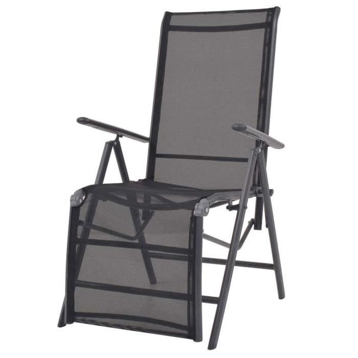 Haute qualité Luxueux Magnifique Economique Chaise longue inclinable Textilène Noir 58,5 x 69 x 110 cm