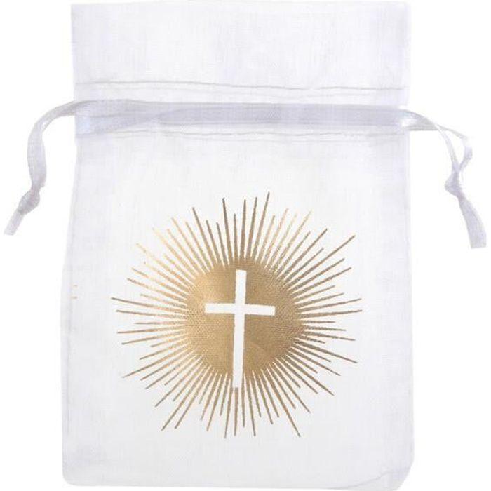 Sachet Communion croix blanc et or métallique pour dragées (x6) REF/6849