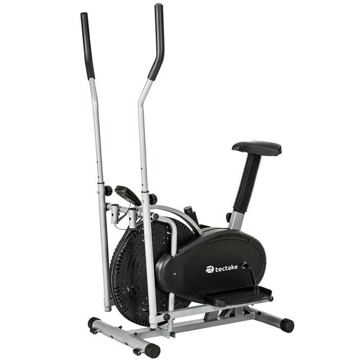 TECTAKE Vélo elliptique avec écran LCD Cross Trainer Home Trainer Appareil de Fitness Cardio 90 cm x 53 cm x 158 cm Noir