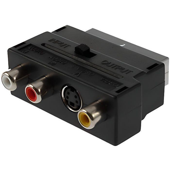 TRIXES Adaptateur Entrée-Sortie Commutable Composite RCA et S-Vidéo vers SCART (péritel)