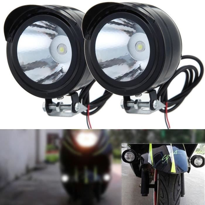 2pcs phare avant moto lampe feux 12v 80v 3w led headlight. Black Bedroom Furniture Sets. Home Design Ideas