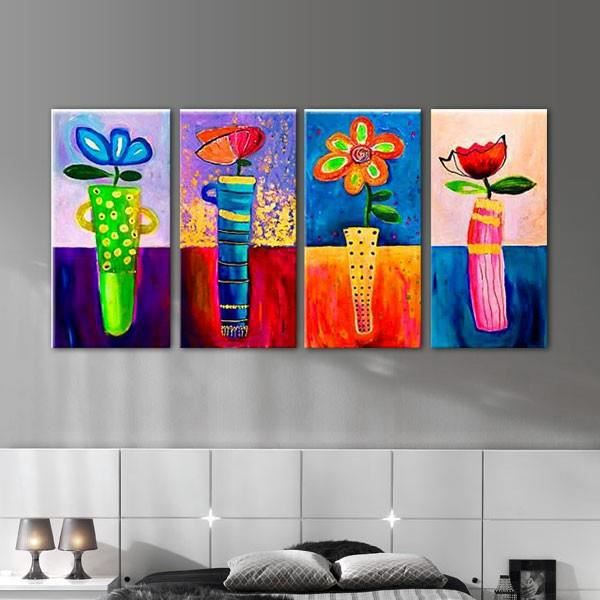 quadriptyque floral tableaux peinture fleur floral. Black Bedroom Furniture Sets. Home Design Ideas