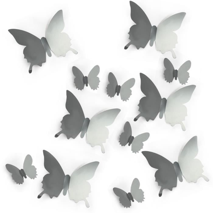 argent papillon 3d wall stickers miroir art autocollant pvc papier pour vitrine maison achat. Black Bedroom Furniture Sets. Home Design Ideas