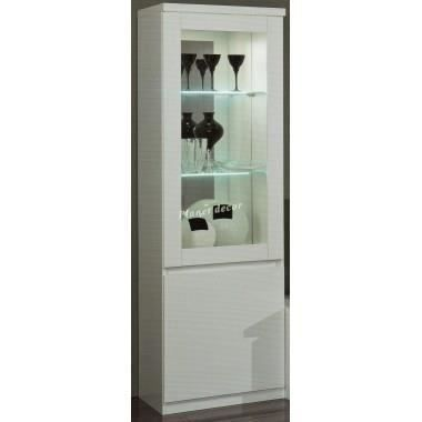 vitrine lumineuse blanc laqu 1 porte design malvina avec. Black Bedroom Furniture Sets. Home Design Ideas