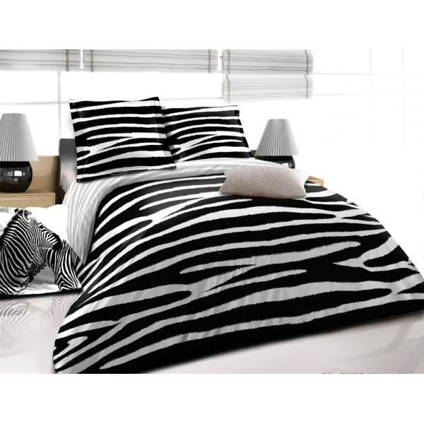 housse de couette 220x240cm 2 taies d oreiller 63x63 cm zebre noir filx achat vente parure. Black Bedroom Furniture Sets. Home Design Ideas