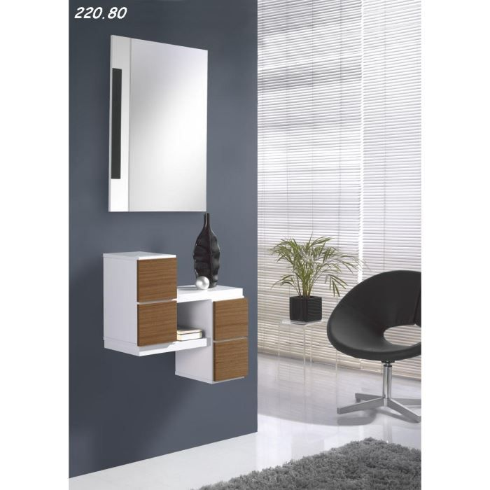 console avec miroir tina 12 80 blanc noyer achat vente console console avec miroir tina. Black Bedroom Furniture Sets. Home Design Ideas