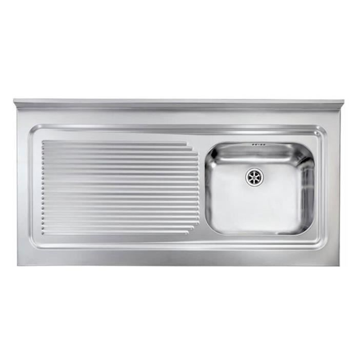 Vier professionnel poser inox rossa 1 bac 1 gouttoir for Table evier inox professionnel