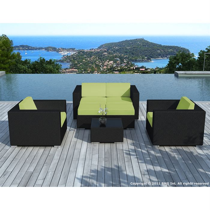 salon de jardin noire coussin vert sd9505 achat. Black Bedroom Furniture Sets. Home Design Ideas