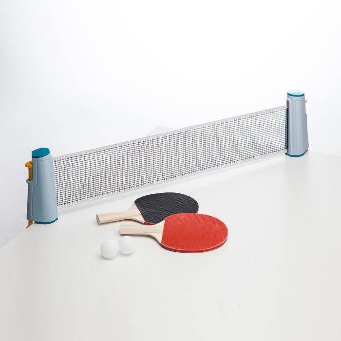 KIT TENNIS DE TABLE QN Set de Tennis de Table Portable- 2* Raquette +