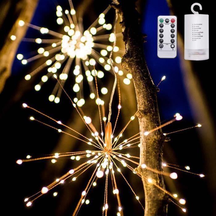 200LED Decoration mariage champetre, Guirlande lumineuse exterieure a pile  pour mariage jardin chambre feu d\'artifice Blanc chaud
