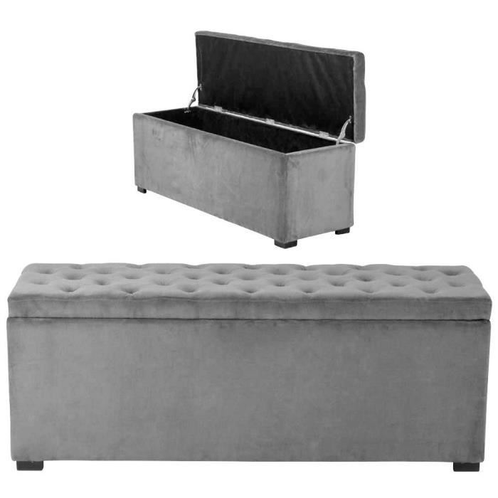 banquette coffre capitonn e velours gris am lie l achat. Black Bedroom Furniture Sets. Home Design Ideas